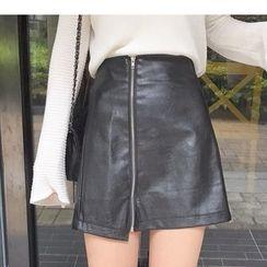 Oaksa - Faux Leather Zip Jacket