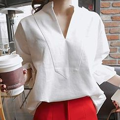 Queen Bee - Split-neck Lantern Sleeve Blouse