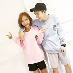 Teezone - Couple Matching Print Pullover