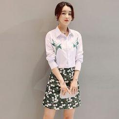 Maine - 套装:刺绣衬衫 + 碎花裙