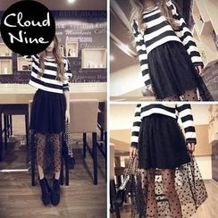 Cloud Nine - Set: Long-Sleeve Striped T-Shirt + Dotted Mesh A-Line Midi Skirt