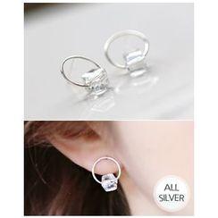 Miss21 Korea - Rhinestone Silver-Ring Stud Earrings