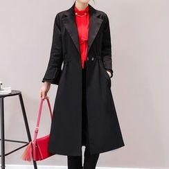 Donnae - Plain 3/4-Sleeve Coatdress