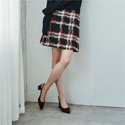 MAGJAY - Wool Blend Checked A-Line Skirt