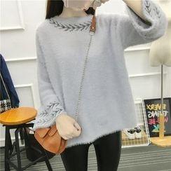 Emeline - Slit-Back Patterned Sweater