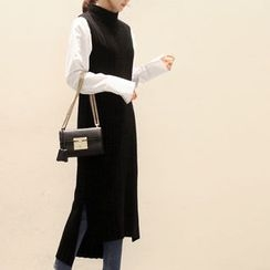 NANING9 - Mock-Neck Sleeveless Knit Long Dress