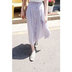 CHERRYKOKO - Buttoned Linen Blend Long Skirt