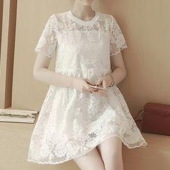 Ashlee - Set: Short-Sleeve Lace Panel A-Line Dress + Camisole