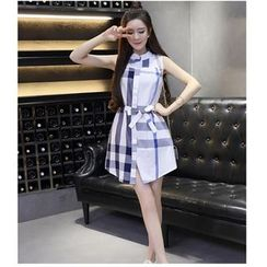 Jolly Club - Sleeveless Plaid Dress