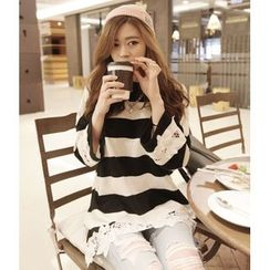Cookadoo - Maternity Long-Sleeve Striped T-Shirt