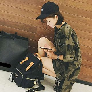 Melon Juice - Ripped Camouflage Elbow-Sleeve T-Shirt