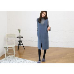 Hello sweety - Deep V-Neck Sleeveless Wool Blend Knit Dress