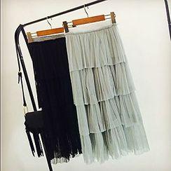 Apalili - Tiered Pleated Midi Skirt