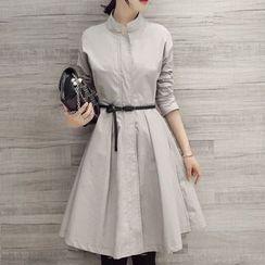 Donnae - Stand Collar A-Line Shirtdress