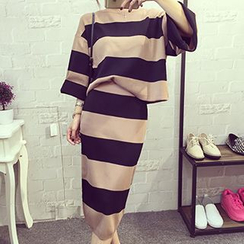 Frontline - Set: Striped Knit Sweater + Mini Skirt
