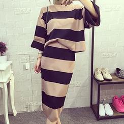 Frontline - Set: Stripe Batwing Top + Skirt