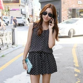 PIPPIN - Sleeveless Polka-Dot Playsuit
