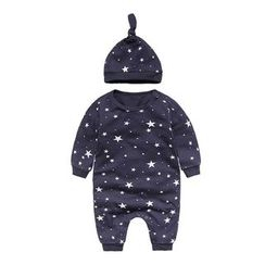 MOM Kiss - Baby Set : Star Print One-piece + Beanie