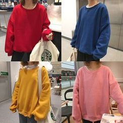 Eva Fashion - Plain Fleece-lined Sweatshirt