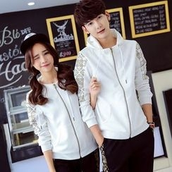 We Belong - Couple Matching Embroidered Panel Hooded Jacket