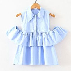 ninna nanna - Cut Out Shoulder Frill Trim Short Sleeve Shirt