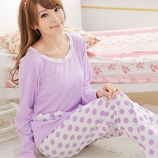 Angel Romance - Pajama Set: Pocket-Detail Top + Patterned Pants