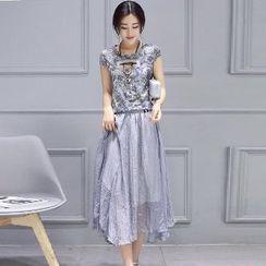 Romantica - Set: Floral Top + Maxi Skirt