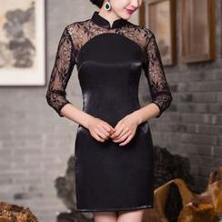 Maura Qipao - 七分袖蕾丝拼接旗袍