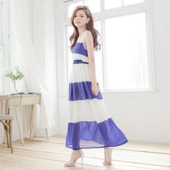 Tokyo Fashion - Tulle-Panel Striped Sleeveless Maxi Dress