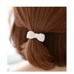 Miss21 Korea - Faux-Pearl Bow Hair Tie