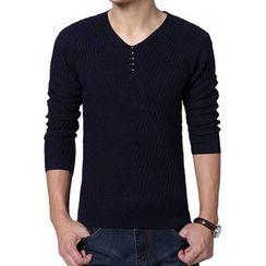 Jazz Boy - Long-Sleeve V-Neck Buttoned Knit Top