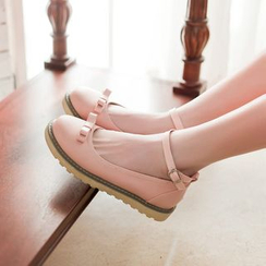 Pastel Pairs - Ankle Strap Bow Flats
