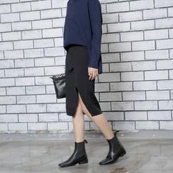 Sonne - 修身高腰开叉针织半身裙