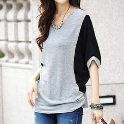Dream Girl - Two-Tone Elbow-Sleeve Top