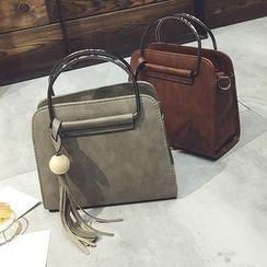 Diamante - Tasseled Metal Handle Handbag