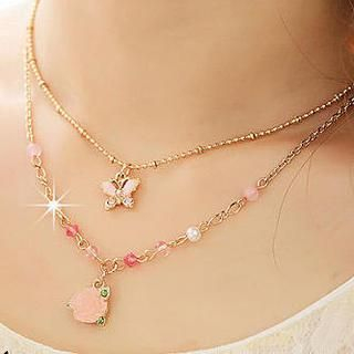 Miss Girl - Butterfly & Flower Double-Chain Necklace