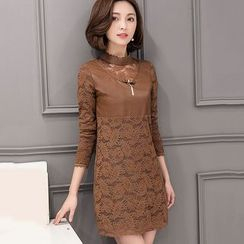 lilygirl - Faux Leather Panel Long Sleeve Lace Dress