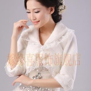 Annie Wedding - Lace-Trim Faux-Fur Bolero