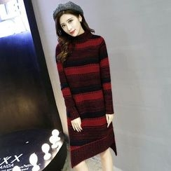 lilygirl - Striped Mock Neck Sweater Dress