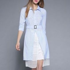 Rosesong - Set: Front Slit Elbow Sleeve Shirtdress + Embroidered Mesh Skirt