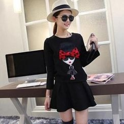 Small Mosquitoes - Cartoon Bow-Accent Long-Sleeve Top