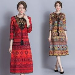 Diosa - Patterned Tasseled 3/4 Sleeve Dress