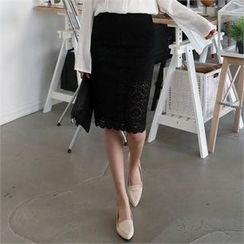 CHICFOX - Band-Waist Lace Pencil Skirt