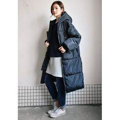 GOROKE - Hooded Zip-Up Long Puffer Coat