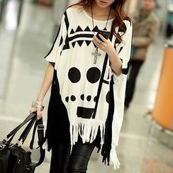 Fashion Street - Elbow-Sleeve Patterned Long T-Shirt