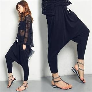 FASHION DIVA - Drawstring-Waist Low-Crotch Pants