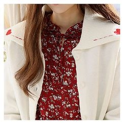 Sechuna - Sailor-Collar Heart-Embroidered Cardigan