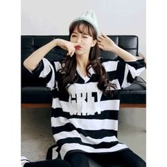 LOLOten - V-Neck Lettering Stripe T-Shirt Dress