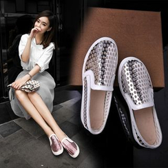 Shoes Galore - Maternity Perforated Metallic Slip Ons