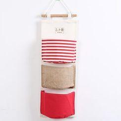 Yulu - 条纹麻质挂墙收纳袋